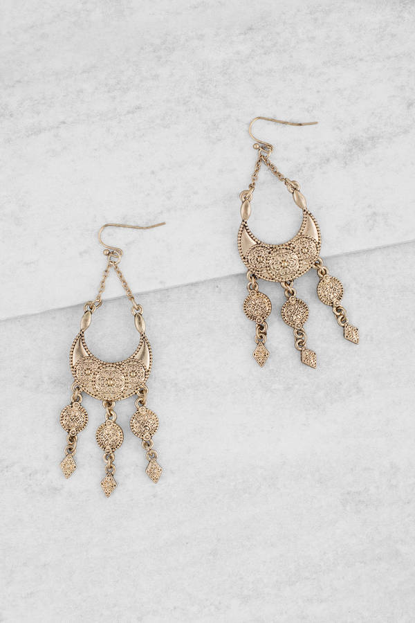 13b50a9d804 Midnight Moon Gold Charm Statement Earrings - € 16