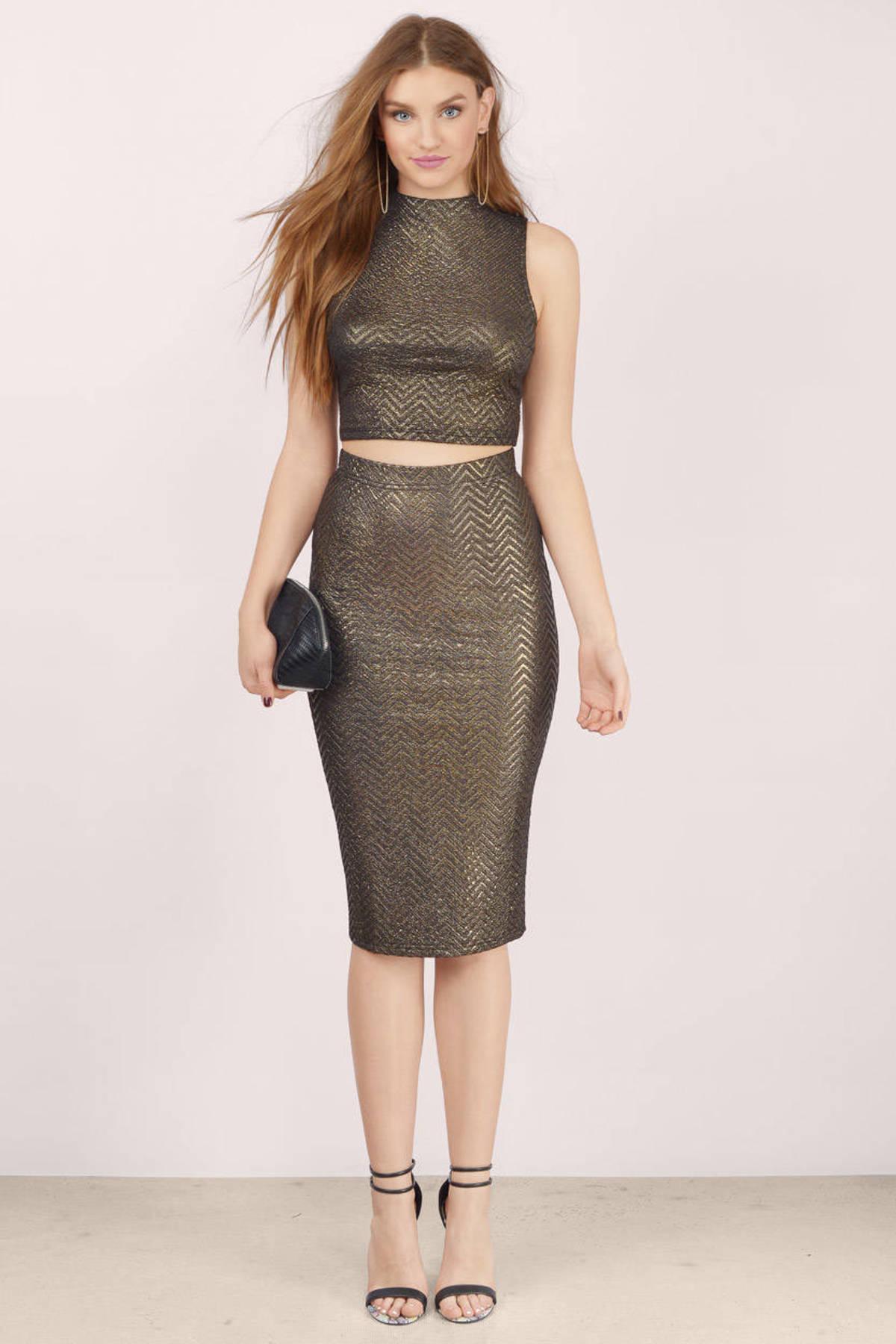 Trendy Gold Multi Skirt - Gold Skirt - High Waisted Skirt - $13.00