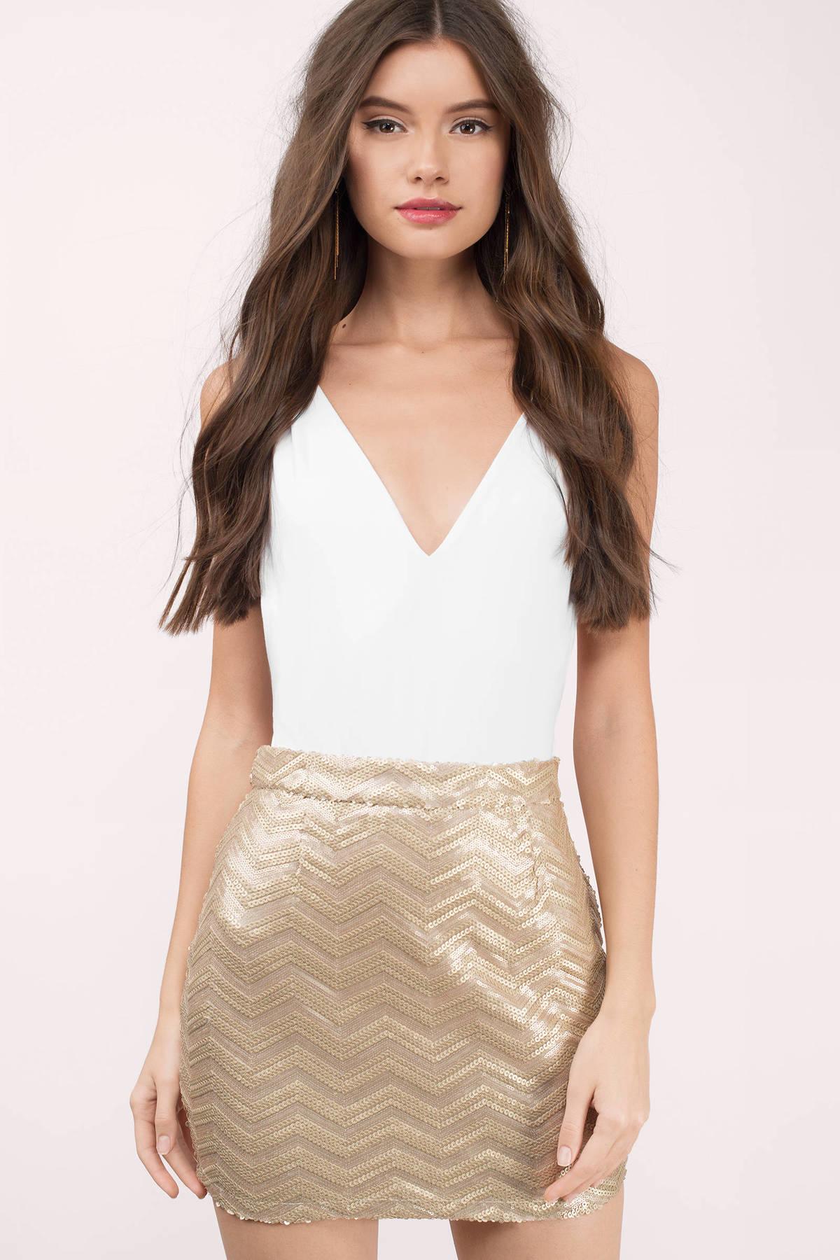 Gold Sequin Skirts | Shop Gold Sequin Skirts at Tobi