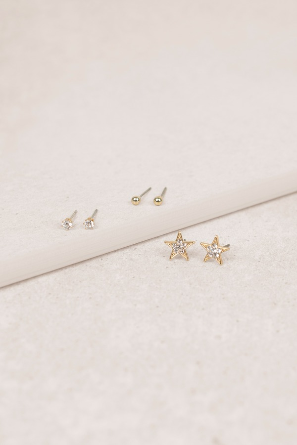 Stud Earrings Gold Starlie Earring Set