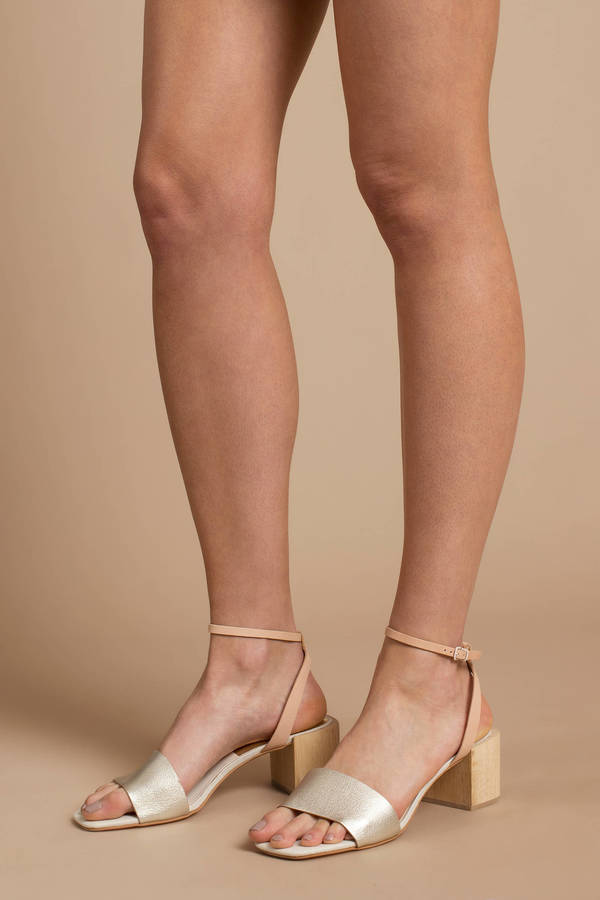 425187795a2 Gold Dolce Vita Heels - Short Block Heels - Gold Two Toned Heels ...