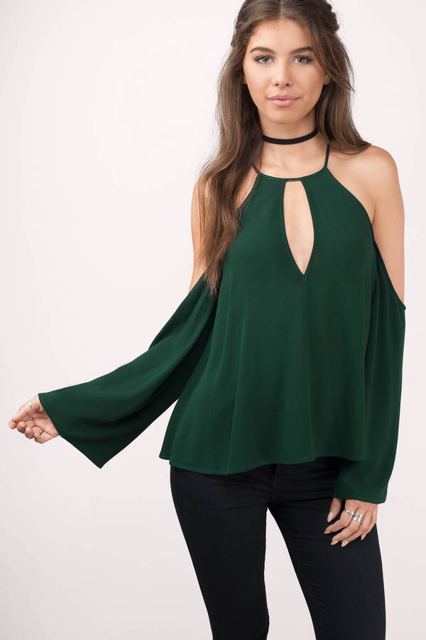 Cute Green Blouse Bell Sleeve Blouse Keyhole Blouse Green