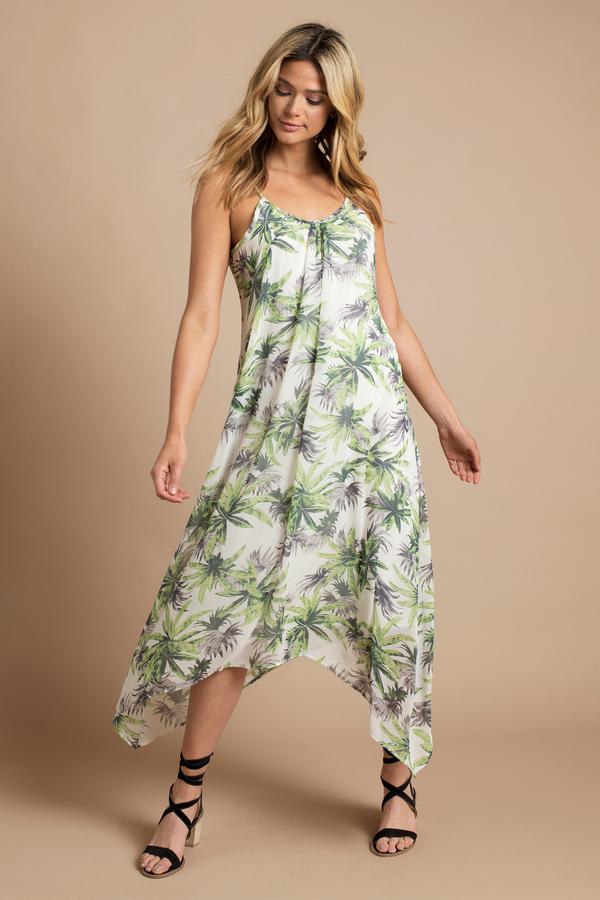 Island Fantasy Green Palm Print Maxi Dress