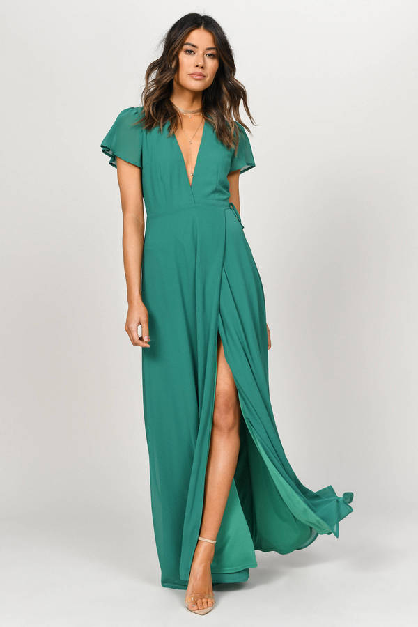 Piper Green Plunging Maxi Dress -  43  5135a2f04