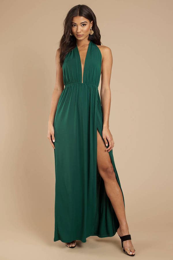 Deep V Dresses Green Release Me Halter Maxi Dress
