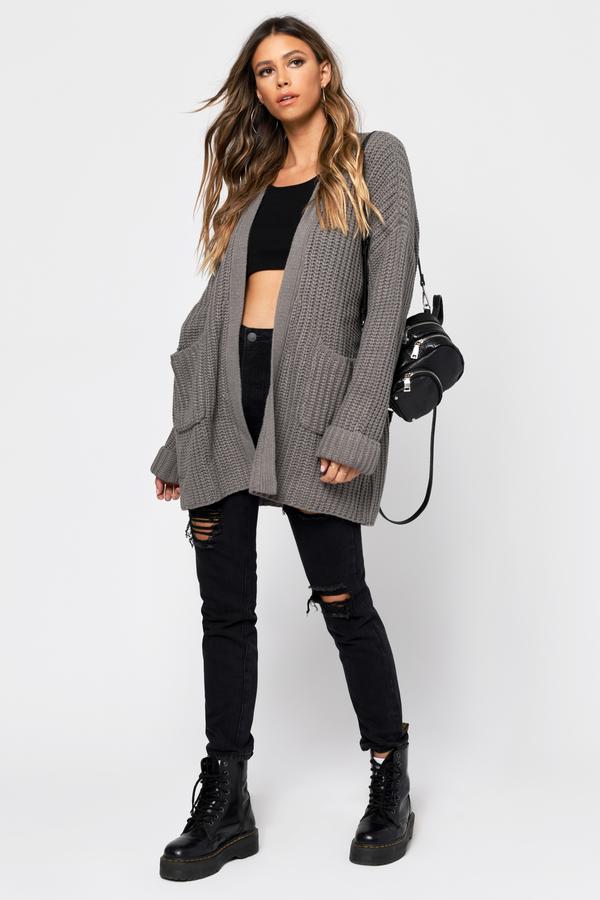 21db4987377 Grey Cardigan - Cable Knit Cardigan - Grey Chunky Knit Cardigan ...
