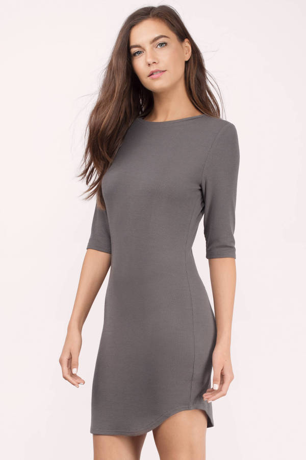 All Curves Grey Ribbed Bodycon Dress