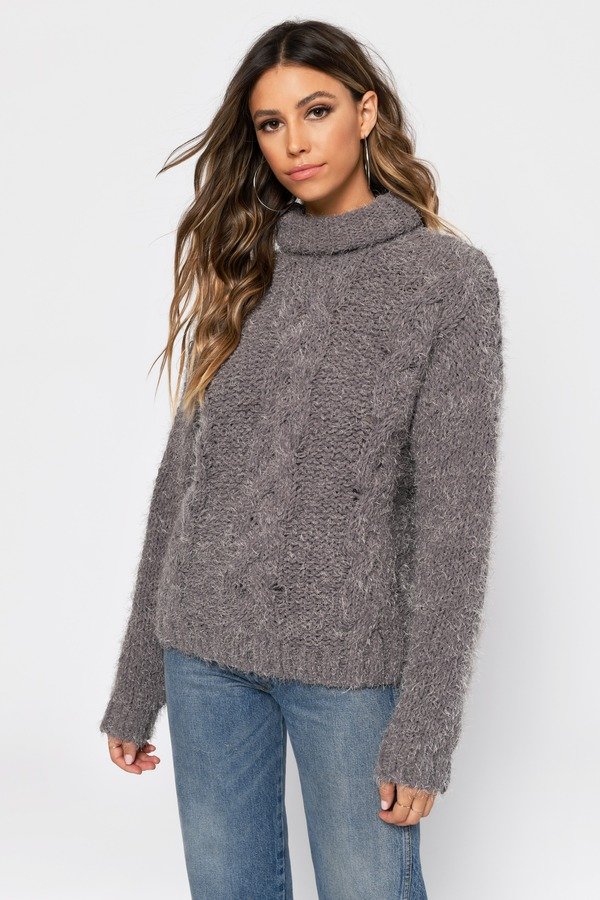 f2bda516e05f White Sweater - Fuzzy Cable Knit Sweater - White Turtleneck Knit ...
