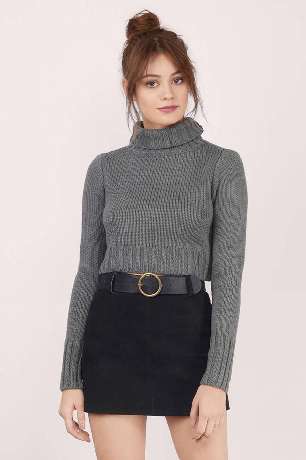 Grey Sweater - Turtleneck Sweater - Dark Grey Sweater - $9 | Tobi US