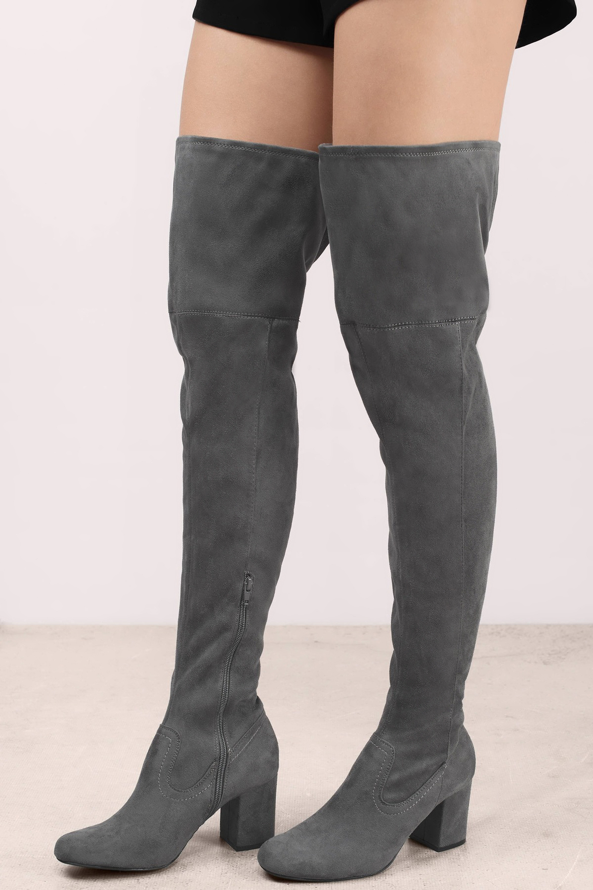 Grey Boots - Grey Boots - Thigh High Boots - $98.00