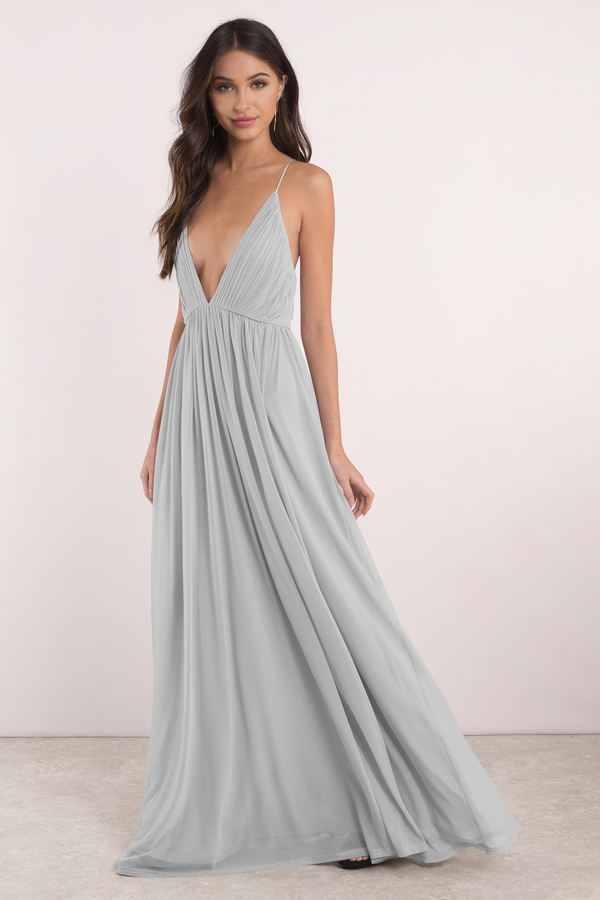 Lovely Mauve Maxi Dress - Plunging Dress - $72.00