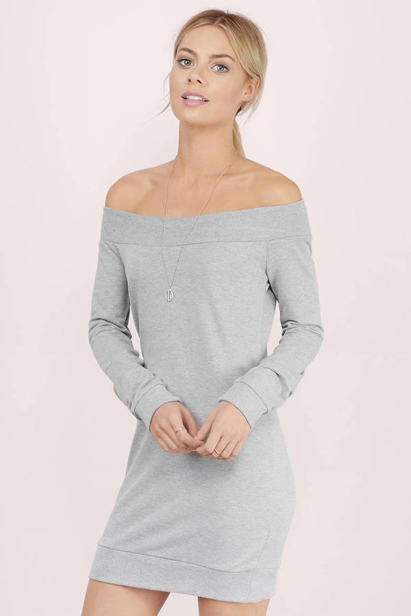 a41243a69cd Cheap Grey Day Dress - Long Sleeve Dress - Day Dress - € 10