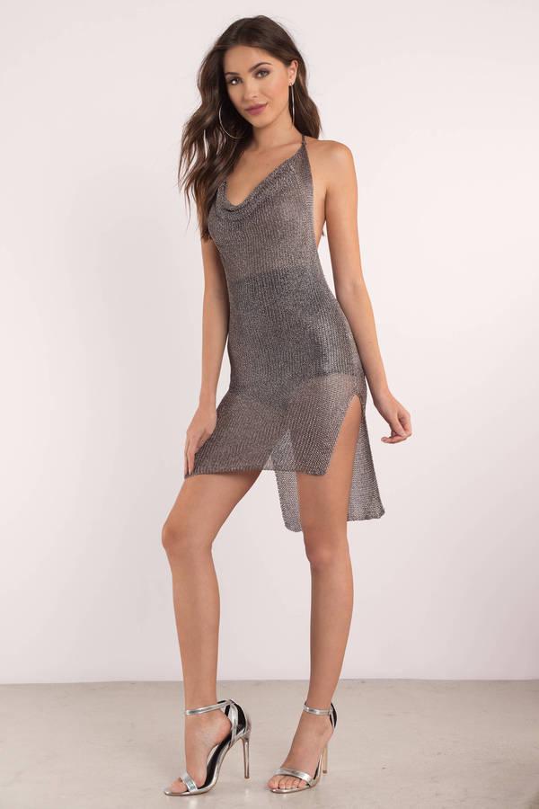 grey dress mesh dress halter dress pewter dress