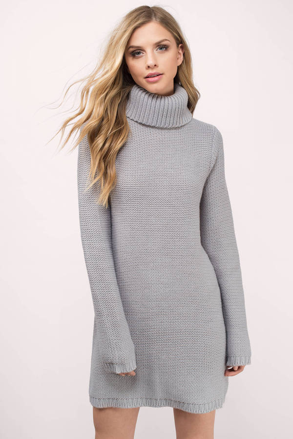 Cute Grey Dress - Turtleneck Dress - Army Grey Sweater - Day Dress ...