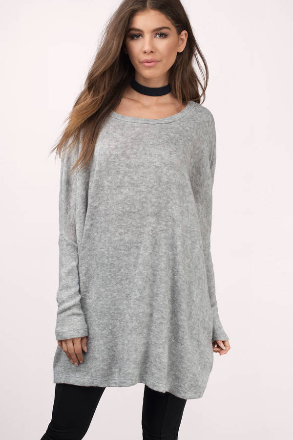 Charcoal Sweater - Grey Sweater - Long Sleeve Sweater - $23 | Tobi US