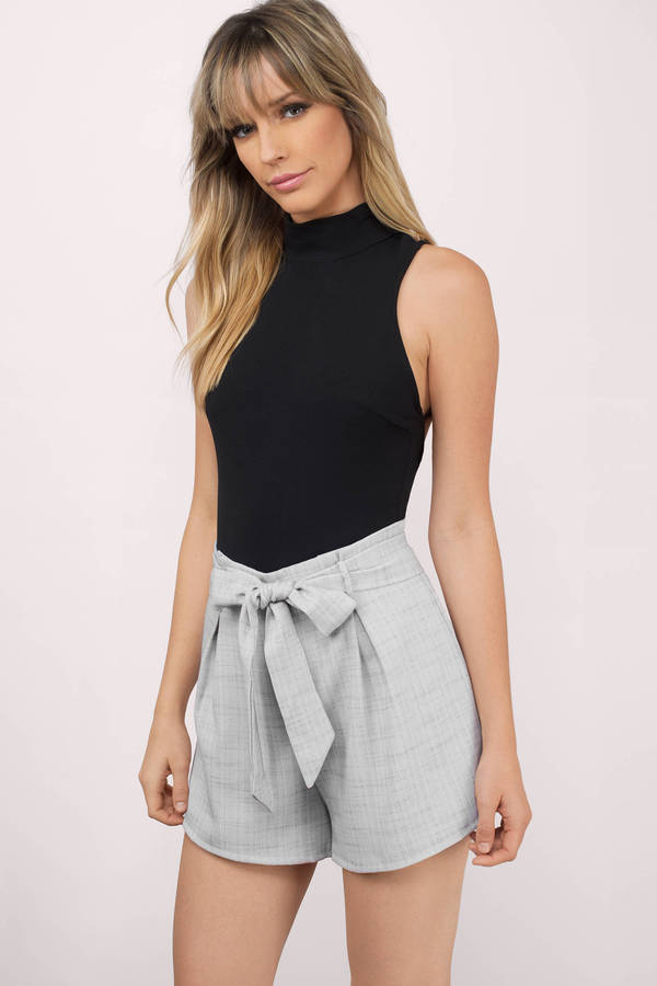 ee390535221f Cute Grey Shorts - Front Tie Shorts - Grey Shorts -  66
