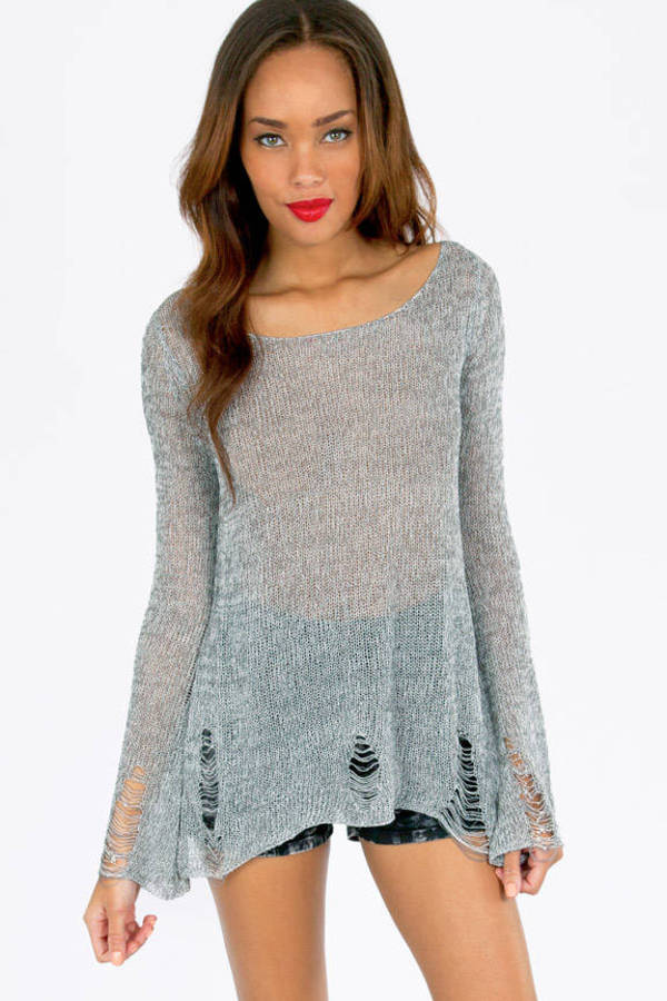 Slashed Mixed Knit Sweater