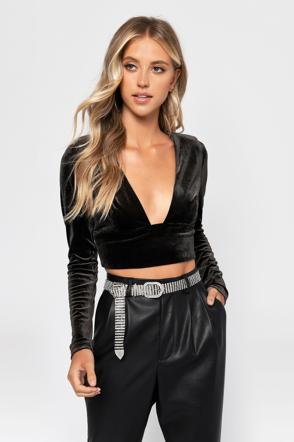 Teddy Grey Deep Square Neck Velvet Crop Top by Tobi