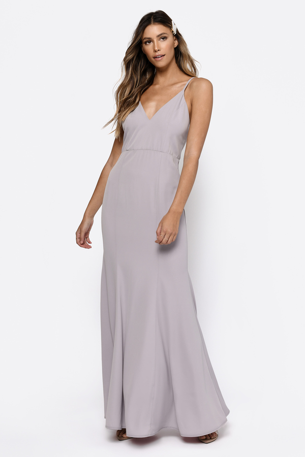 4667cd6d1eff6 Lovely Grey Maxi Dress - Bridesmaid Dress - V Back Grey Dress - C ...