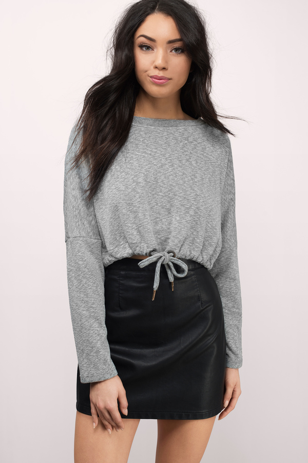 Crop It Down Heather Grey Sweatshirt