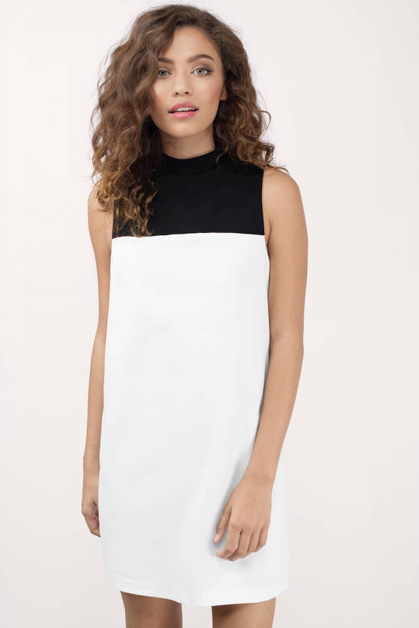 Take Over Ivory &Amp; Black Shift Dress by Tobi
