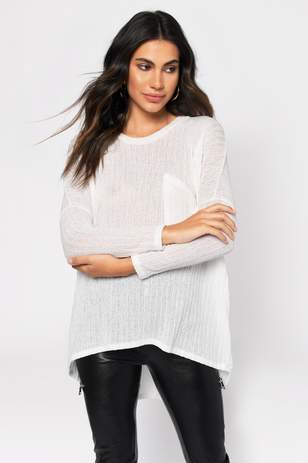 Blame Game Ivory Ribbed Long Sleeve Top by Tobi