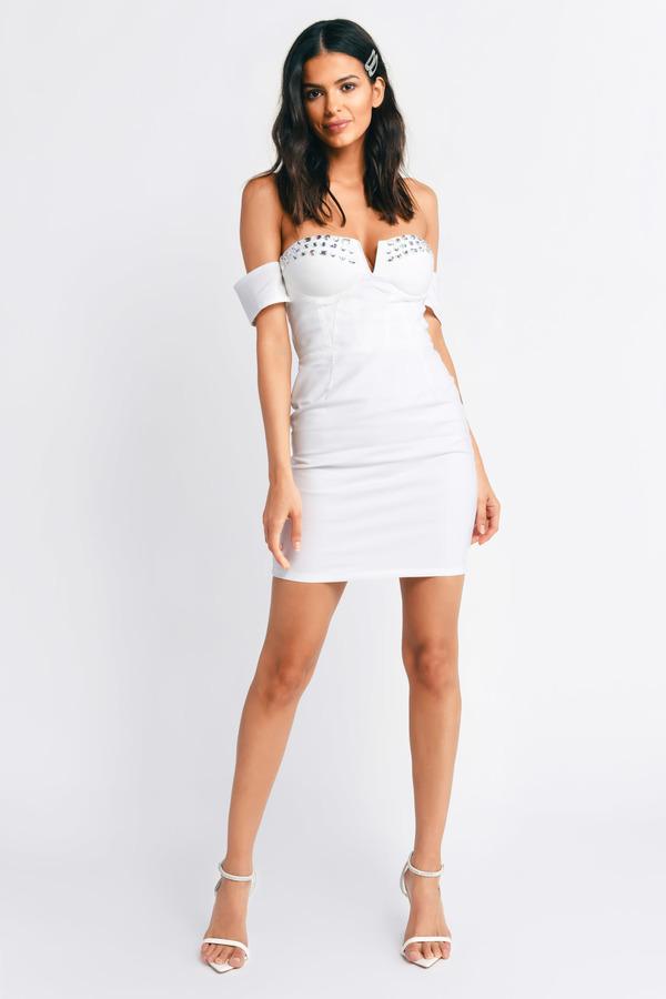 487f6d25d163 Sexy White Bodycon Dress - Off Shoulder Dress - Mini Dress - $12 ...