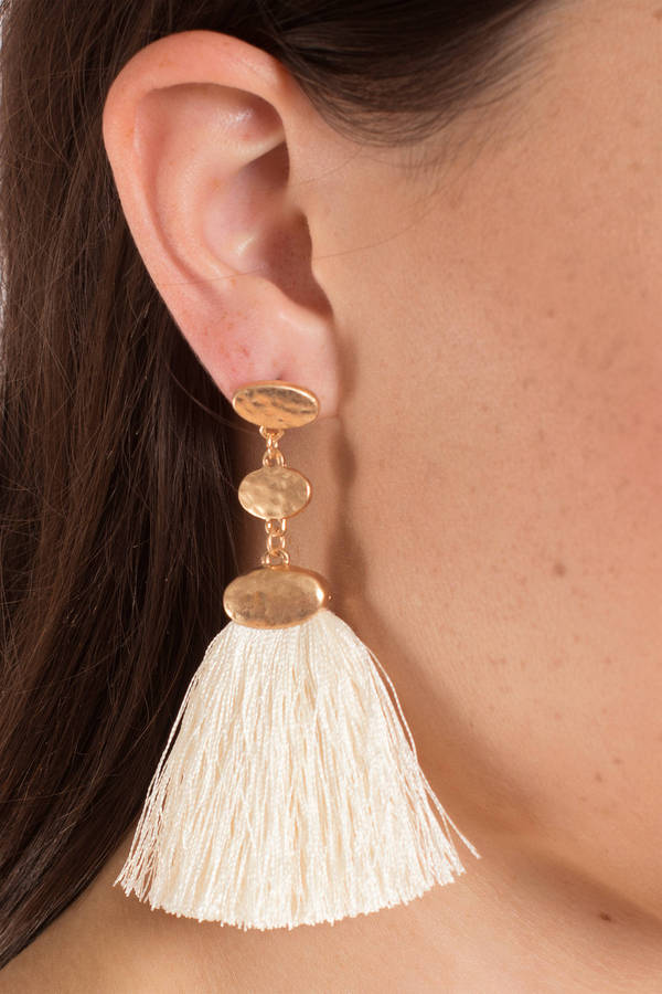 Cute Tassel Earrings - Black And Gold Earrings - Black Tassel ...