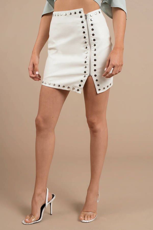 Skirts, Ivory, Gena Croc Embossed Faux Leather Studded Skirt, ...