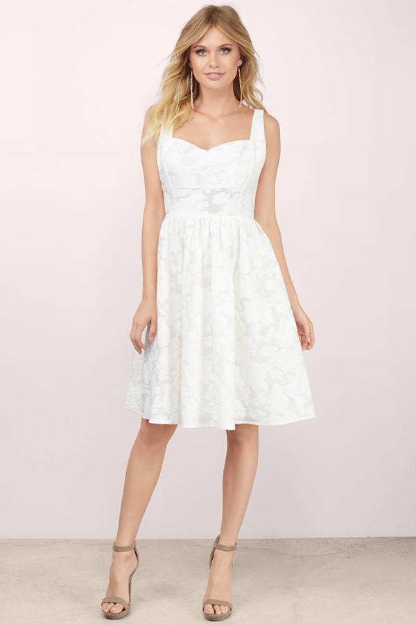Meadow Ivory Floral Skater Dress by Tobi