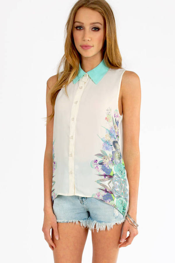 Mirror Floral Collared Top