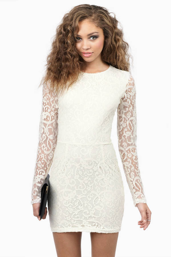Long Sleeve Dresses  Black White Lace Short Maxi Dresses Tobi