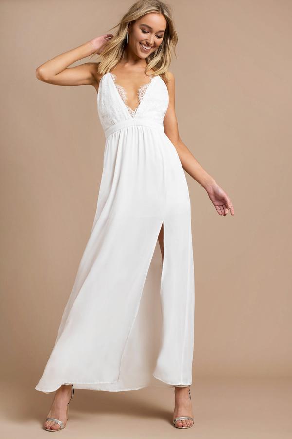 98976d3dab4 White Maxi Dress - Lace Trim Dress - Plunging White Maxi Dress - £21 ...
