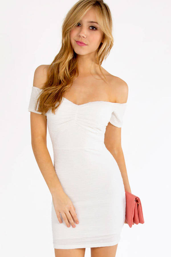 Pucker Off Shoulder Dress