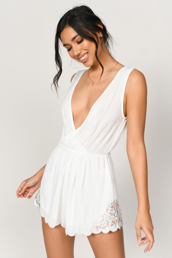 7093bcdd189 Trendy White Romper - Embroidered Romper - White Scallop Romper ...