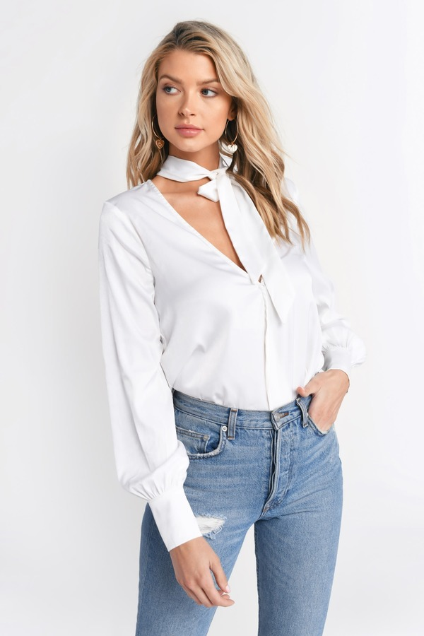 outlet store select for newest coupon codes Reagan Neck Tie With Puff Sleeve Satin Blouse