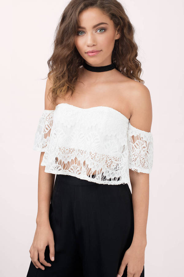 f79105f39cb057 Ivory Crop Top - White Top - Sweetheart Top - Short Sleeve Lace Top ...