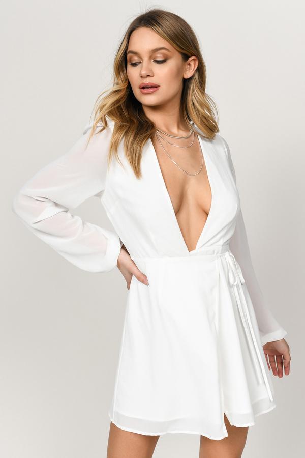 771112b7882c White Dress - Long Sleeve Wrap Dress - White Chiffon Dress -  31 ...