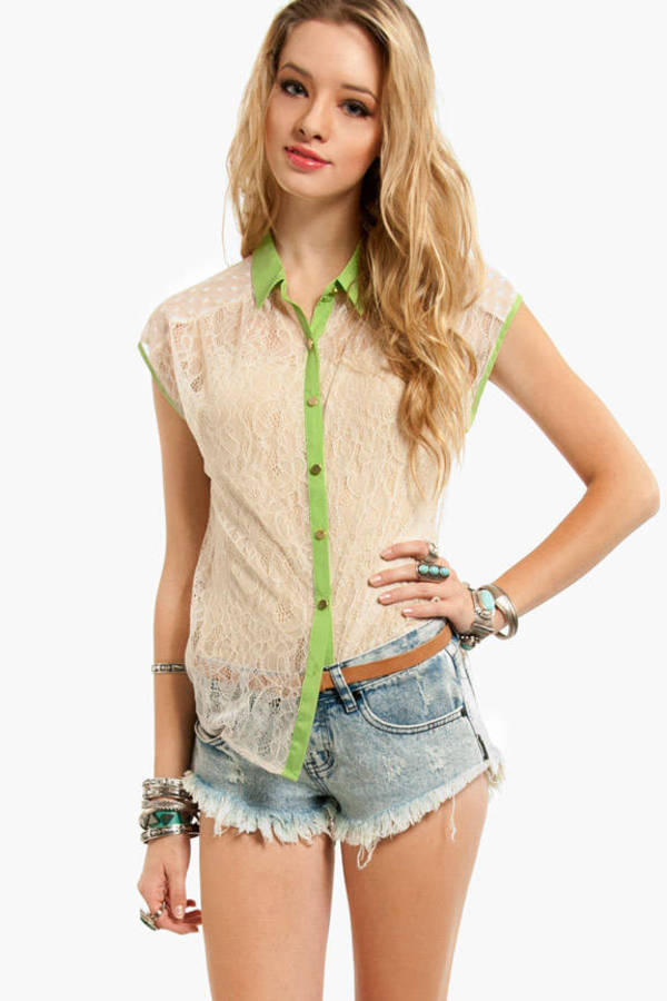 Flying Tomato Unlace Me Button Down Shirt
