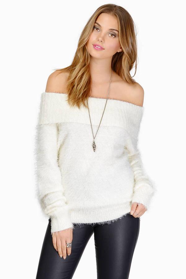 Ivory Sweater Off Shoulder Sweater Fuzzy Top 196 Kr Tobi Se
