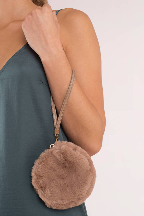Goof Ball Black Furry Wristlet Pouch by Tobi