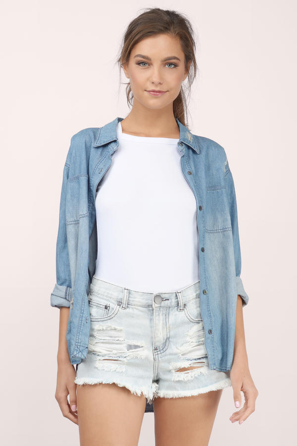 Melrose Mid Rise Denim Shorts