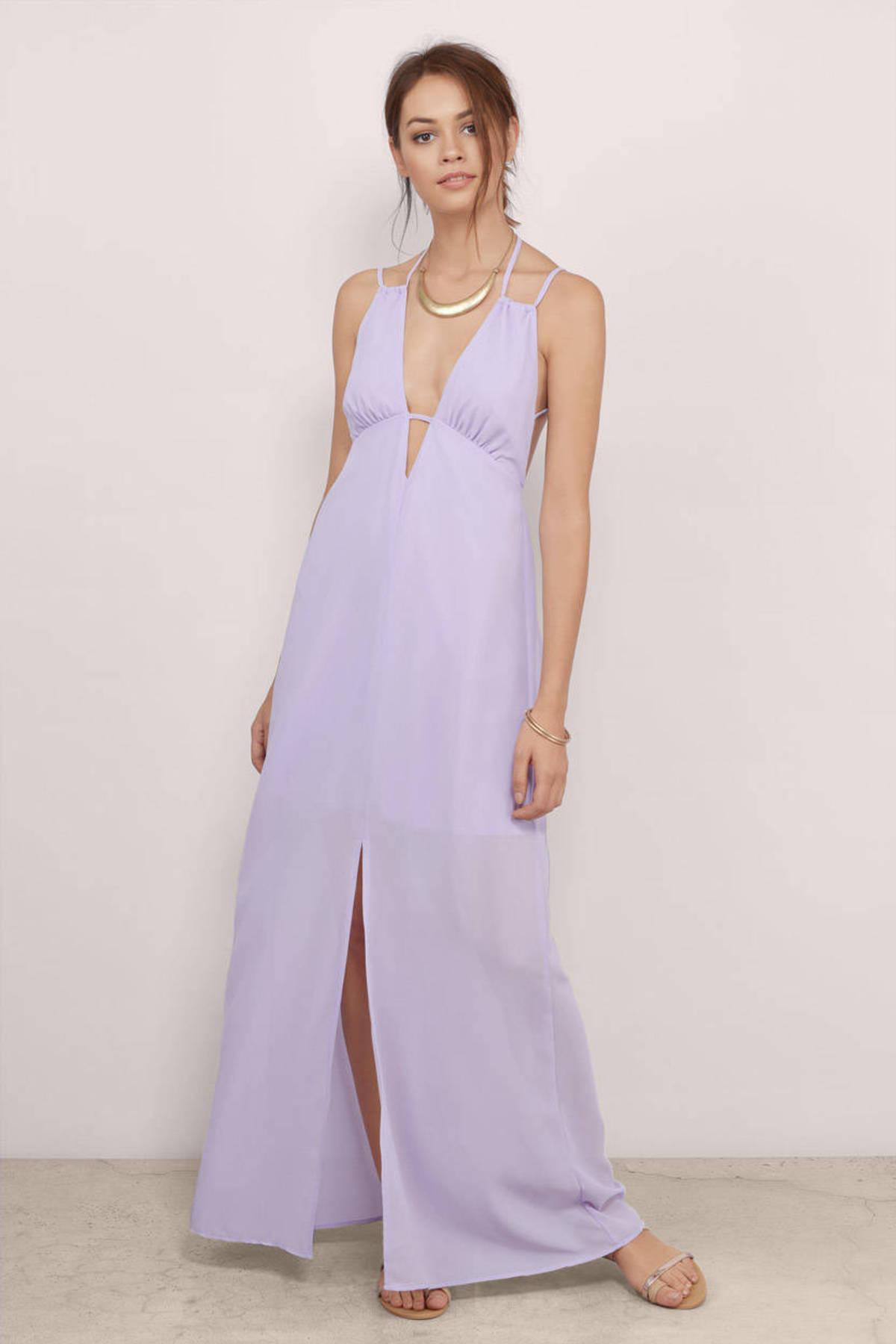 Lavender Maxi Dress - Purple Dress - Plunging Dress - $14.00