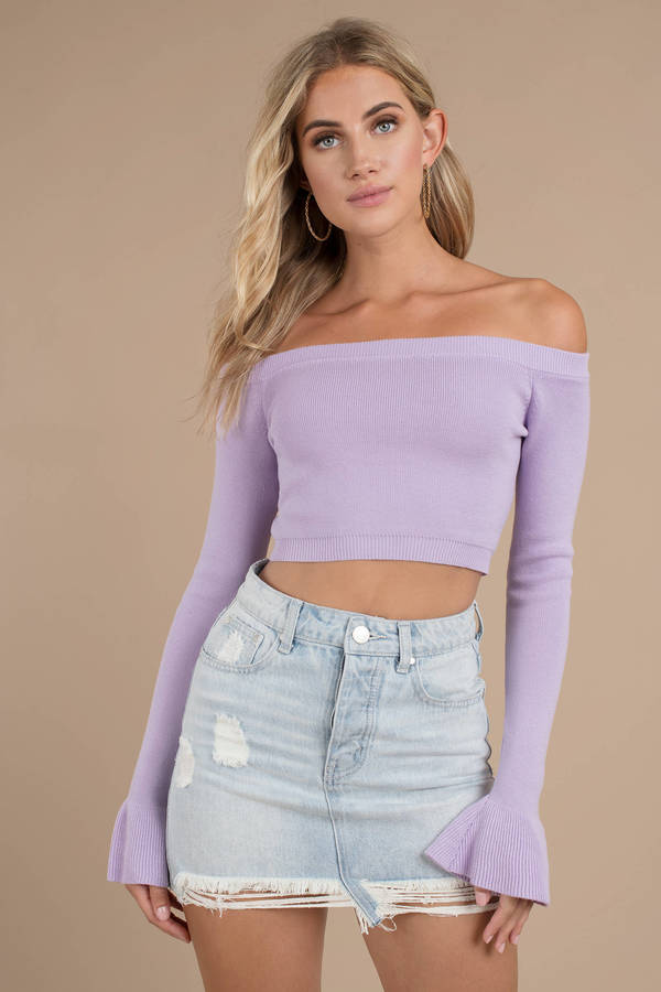 25f732089f Purple Crop Tops, Lavender, Lost In Your Light Off-Shoulder Knit Sweater ...
