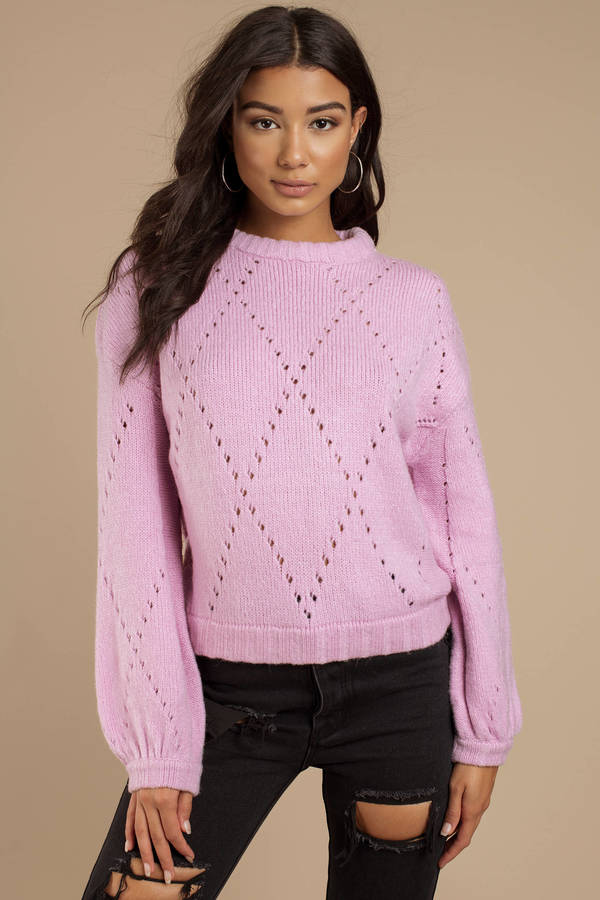 For Love And Lemons Mia Lavender Pointelle Sweater by Tobi
