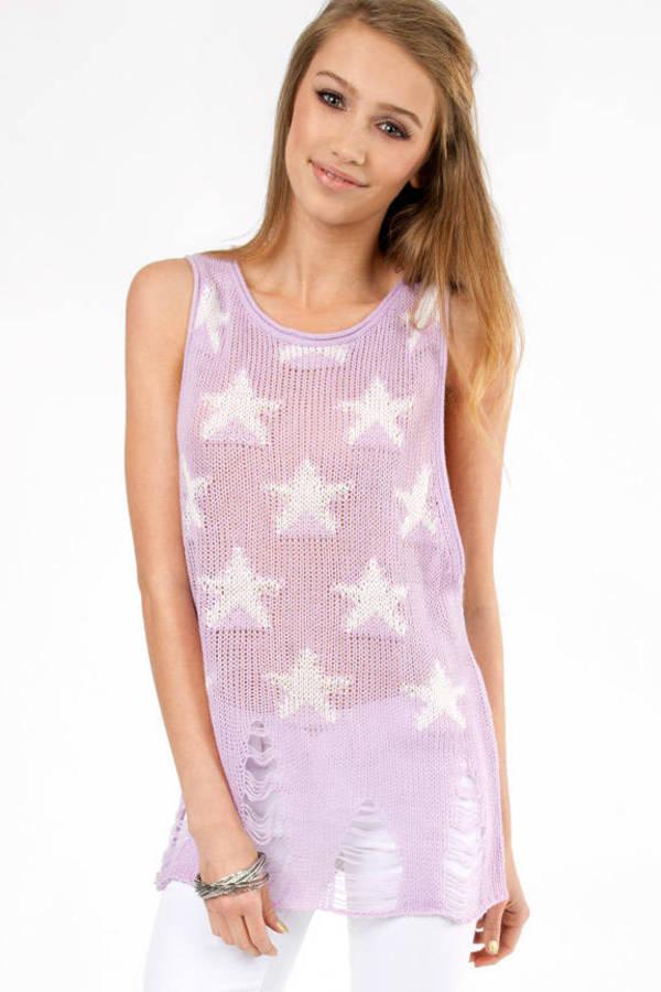 Slashed Stars Sleeveless Sweater