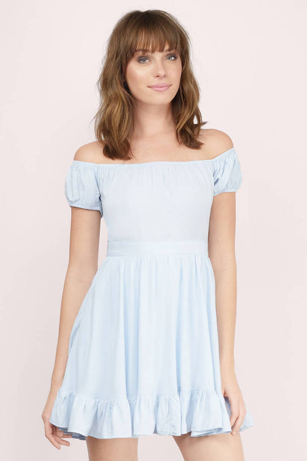 Cute Light Blue Skater Dress - Off Shoulder Dress - Skater ...