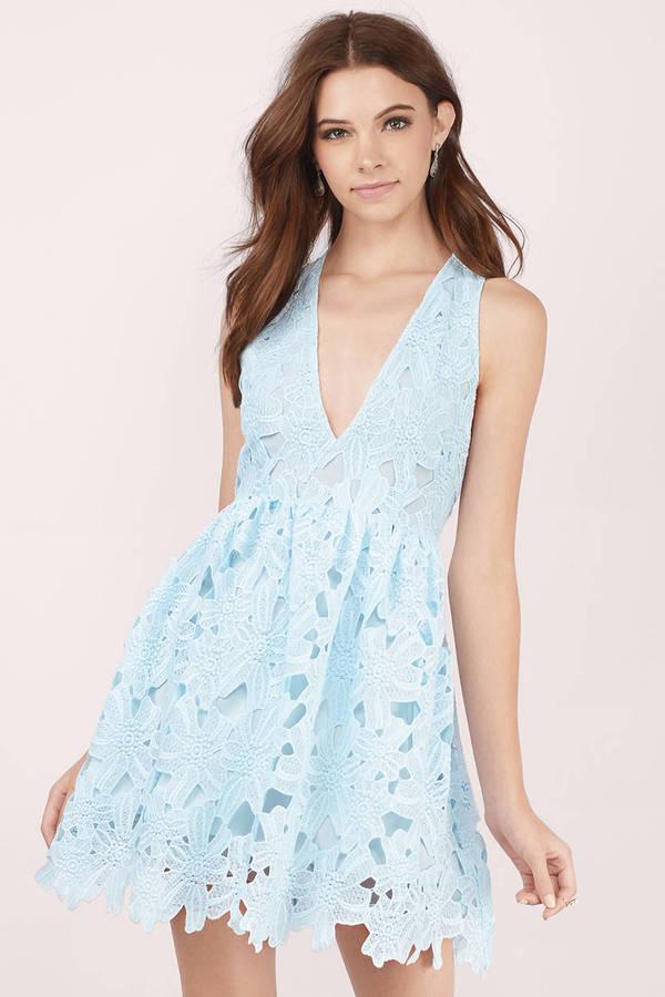 Cheap Light Blue Skater Dress Sleeveless Dress Skater