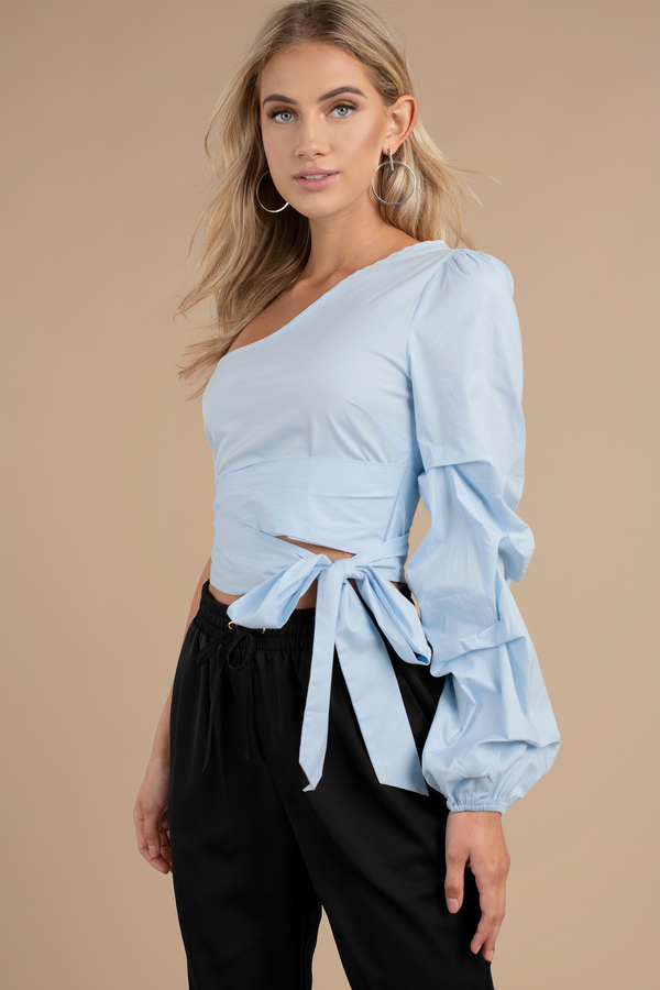 1cc482bf418530 Blue Crop Top - Front Knot Crop Top - Blue One Shoulder Top - AU$ 26 ...