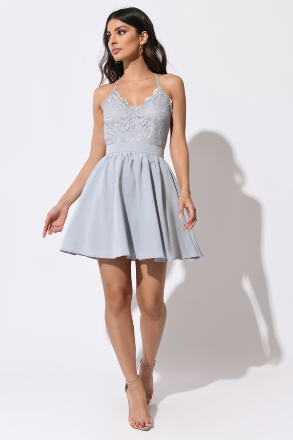Gray and White Formal Dresses